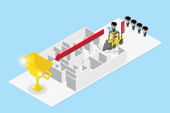 Leader use tractor to destroy wall of labyrinth and lead team to find golden trophy, leadership and business concept. Vector and illustration Royalty Free Stock Images