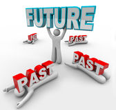 Leader with Vision Accepts Future Change Others Stuck in Past. A leader lifts the word Future while others with less vision are crushed by the word Past, being stock illustration