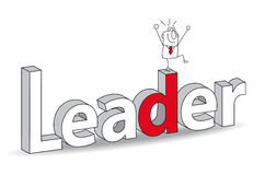 Leader. Word Leader in a 3D style with Joe the businessman. Ideal for a title. It illustrates the concept of the Leader Stock Images