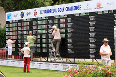 The Leaderboard at Le Vaudreuil golf challenge, France. LE VAUDREUIL GOLF COURSE, FRANCE, - JULY  25 , 2013 Stock Image