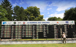 The Leaderboard at Le Vaudreuil golf challenge, France. LE VAUDREUIL GOLF COURSE, FRANCE, - JULY  25 , 2013 Royalty Free Stock Photography