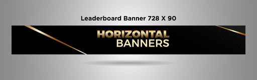 Leaderboard sztandaru 728x90 czerni złocisty prosty projekt vector-02 ilustracji