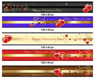 Leaderboard Valentine's Day banners Royalty Free Stock Photos
