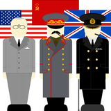 Leaders of the anti-Hitler coalition. Flags and supreme commander of the armed forces of the anti-Hitler coalition. The illustration on a white background Royalty Free Stock Images