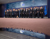 Leaders of the European Union. BRUSSELS, BELGIUM - Feb 12, 2015: Joint photograph of the leaders of the European Union at the informal EU summit in Brussels ( Stock Image