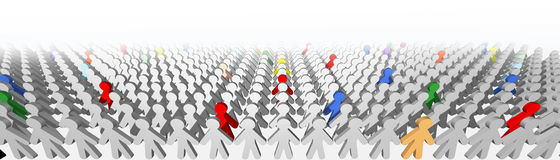 Leaders and geniuses in grey crowd Royalty Free Stock Photos