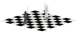 Leaders taking charge. Chess board with King pieces face to face depicting that leaders take charge when all other fail royalty free illustration