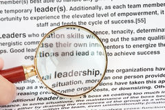 Leadership. A macro shot of the word Leadership with magnifying glass Stock Photo