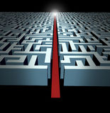 Leadership. And strategy through business challenges and obstacles represented by a maze and labyrinth with a clear solution shortcut path opened with a red Stock Photo