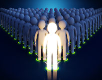 Leadership. 3d Luminous man. Leadership. First in a pyramid royalty free illustration