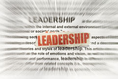 Leadership. Blurred text with a focus on leadership Stock Photo