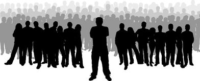 Leadership. Large group of people with male standing at the front as if leading Royalty Free Stock Images
