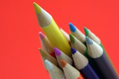 Leadership. Bunch of pencils with one pencil sticks out, can be used for leadership symbol Royalty Free Stock Images