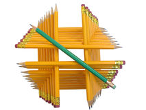 Leadership. Pyramidal construction made of cloistered pencils Royalty Free Stock Images