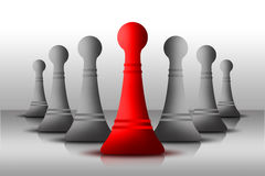 Leadership. Chess Pawn Leadership for the solider Team stock illustration