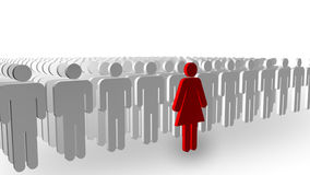 Leadership. 3D illustrated concept of a person Standing out from the crowd Stock Photography