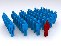 Leadership. A three-dimensional illustration of rank and file people in blue colors with one person at the front in red.  Theme:  Leadership, organization Stock Image