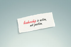 Leadership is action, not position Royalty Free Stock Photos