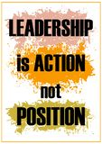 Leadership is action not position Inspiring quote Vector illustration
