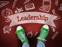 Leadership against desk. The word leadership and casual shoes against desk Royalty Free Stock Photo