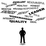 Leadership attitude. Abstract and words related in front of man in white background Royalty Free Stock Photos