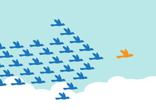 Leadership. Birds flying in the formation of an arrow shape, following a leader bird. A metaphor on teamwork and leadership Royalty Free Stock Images