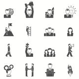Leadership black white icons set Stock Image