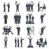 Leadership Black White Icons Set Royalty Free Stock Photos