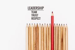 Leadership business concept. color pencil on white background stock photo