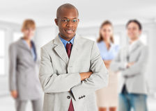 Leadership, businessman with his team Royalty Free Stock Images