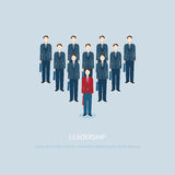 Leadership businessman in Red businessmen lead blue colleagues. Royalty Free Stock Photos