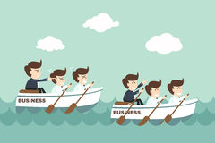 Leadership - businessman rowing team Stock Image