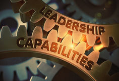 Leadership Capabilities on Golden Gears. 3D Illustration. Royalty Free Stock Photography