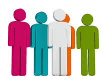 Leadership colorful team group. 3d leadership white with colorful team group Stock Photography