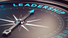 Leadership. Compass with needle pointing the word leadership with blur effect plus blue and black tones. Conceptual image for illustration of leader motivation
