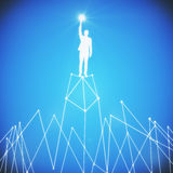 Leadership concept. Abstract white man figure with star in hand standing on abstract polygonal moountain. Leadership concept. Blue background. 3D Rendering Stock Images