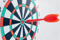 Leadership concept Arrows on archery target of dartboard Target business concept stock photos