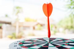 Leadership concept Arrows on archery target of dartboard Target business concept royalty free stock image