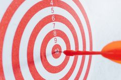 Leadership concept Arrows on archery target of dartboard Target business concept royalty free stock images