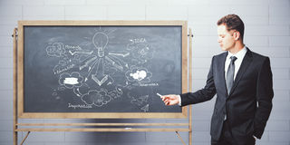 Leadership concept. Attractive caucasian businessman drawing business sketch on chalkboard. Brick wall background. Leadership concept. 3D Rendering Royalty Free Stock Images