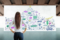 Leadership concept. Back view of young woman in interior looking at banner with colorful business doodle. Leadership concept. 3D Rendering Stock Image