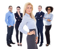 Leadership concept - beautiful business woman and her  colleague Stock Photo