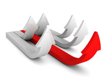 Leadership concept with big red arrow from gray group Royalty Free Stock Photos