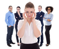 Leadership concept - business woman and her colleagues isolated Stock Photos