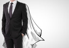 Leadership concept. Businessman with drawn cape on white background. Leadership concept stock photo