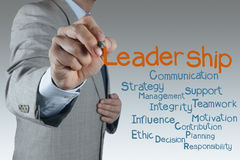 Leadership concept. Businessman hand shows light as leadership concept Royalty Free Stock Photos