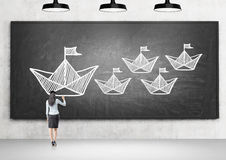Leadership concept chalkboard in room Royalty Free Stock Photos