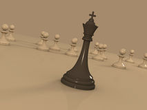 Leadership concept - Chess king leading the pawns Royalty Free Stock Images