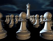 Leadership concept with chess pieces and chess queen. Stock Photos