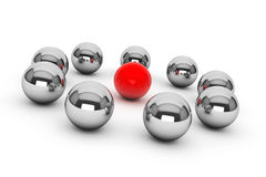 Leadership Concept. Chrome spheres around red sphere Royalty Free Stock Photos